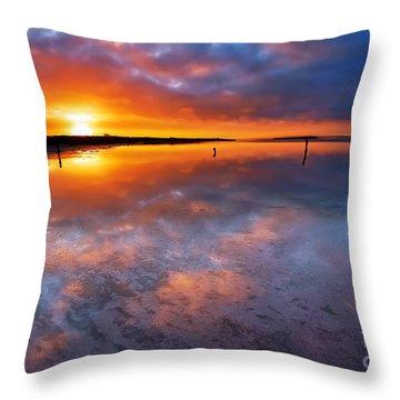 Salt Pan Sunrise Throw Pillow