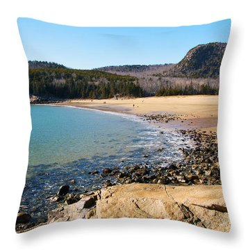 Sand Beach Acadia National Park Throw Pillow