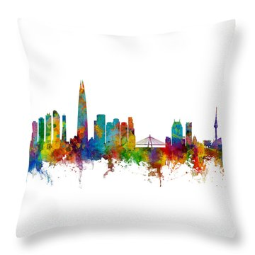 Throw Pillow featuring the photograph Seoul Skyline South Korea by Michael Tompsett