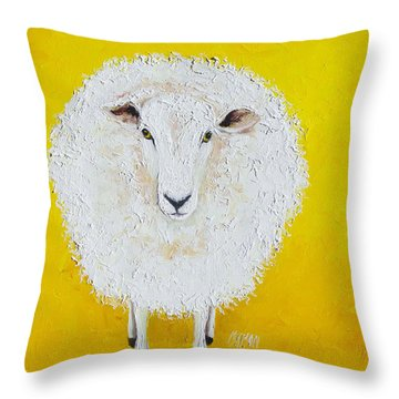 Sheep Painting On Yellow Background Throw Pillow