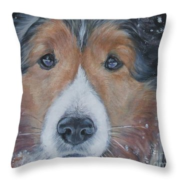 Shetland Sheepdog Throw Pillow by Lee Ann Shepard