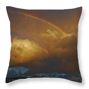 Throw Pillow featuring the photograph 2- Singer Island Stormbow by Rainbows