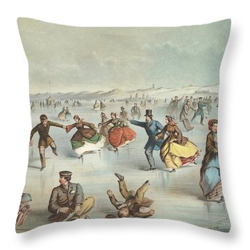 Skating In Central Park, New York Throw Pillow