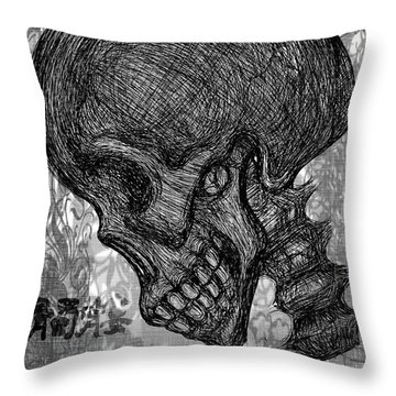 Gothic Skull Throw Pillow