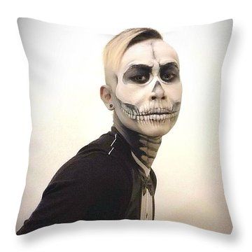 Skull And Tux Throw Pillow by Kent Chua