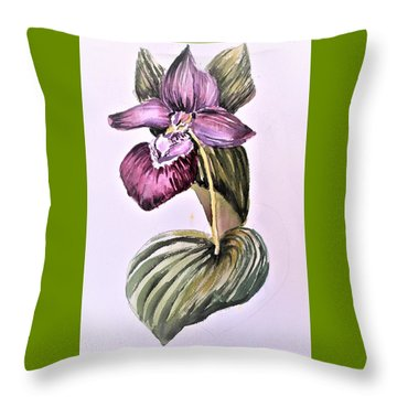 Throw Pillow featuring the painting Slipper Foot Orchid by Mindy Newman