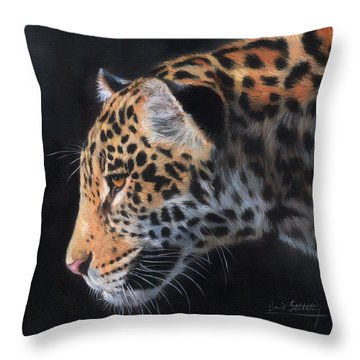 South American Jaguar Throw Pillow by David Stribbling