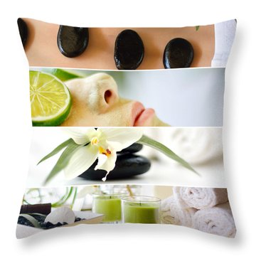 Spa Collage Throw Pillow