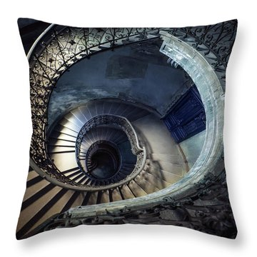 Throw Pillow featuring the photograph Spiral Staircase With Ornamented Handrail by Jaroslaw Blaminsky