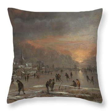 Sports On A Frozen River Throw Pillow