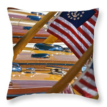 Stars And Stripes On The Water Throw Pillow