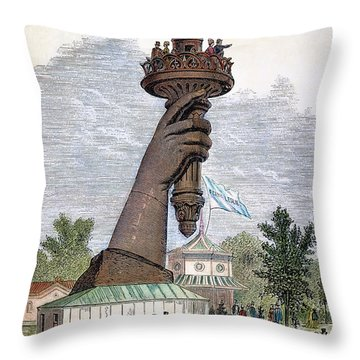 Statue Of Liberty, 1876 Throw Pillow by Granger