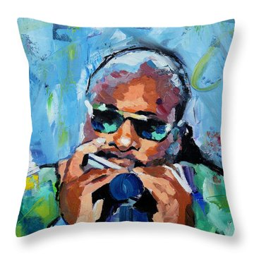 Throw Pillow featuring the painting Stevie Wonder by Richard Day