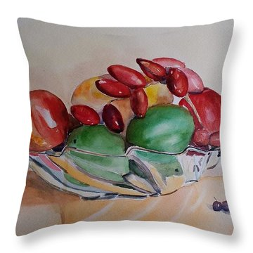 Throw Pillow featuring the painting Still Life Fruits by Geeta Biswas