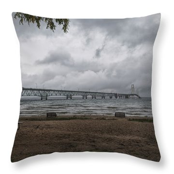 Throw Pillow featuring the photograph Straits Of Mackinac by John M Bailey
