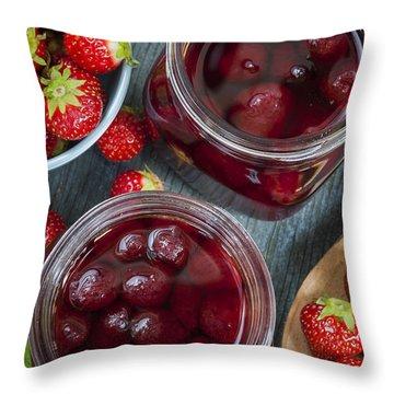 Strawberry Preserve Throw Pillow by Elena Elisseeva