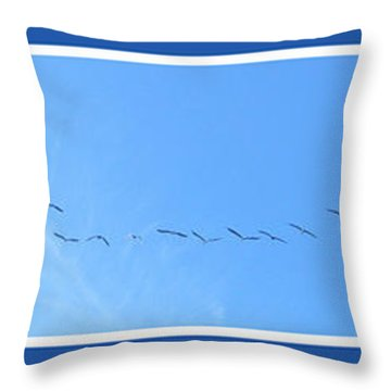String Of Birds In Blue Throw Pillow