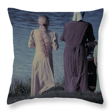 Strolling Seamstress Family Throw Pillow