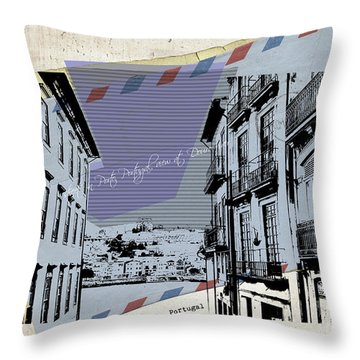 stylish retro postcard of Porto Throw Pillow