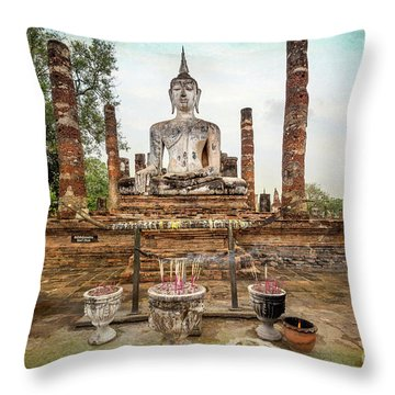 Throw Pillow featuring the photograph Sukhothai Buddha by Adrian Evans