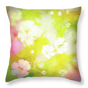 Summer Flowers, Baby's Breath, Digital Art Throw Pillow