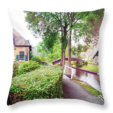 Throw Pillow featuring the photograph Summer Panorama Of  Dutch Village by Ariadna De Raadt
