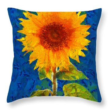 Throw Pillow featuring the painting Sunflower by Elizabeth Coats