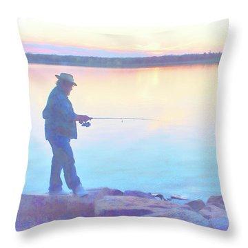Sunrise Fisherman Throw Pillow