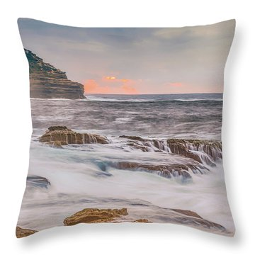 Sunrise Seascape And Headland Throw Pillow