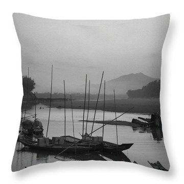 sunset at Mae Khong river Throw Pillow
