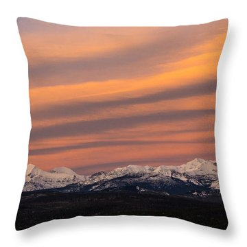 Sunset In Glacier National Park Throw Pillow