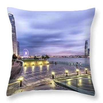 Sunset Over Hong Kong Throw Pillow
