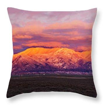Sunset Over Mountain Range, Sangre De Throw Pillow