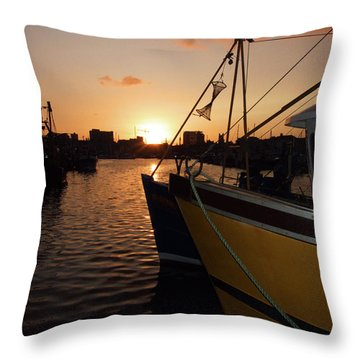Sunset Over Sutton Harbour Plymouth Throw Pillow by Chris Day