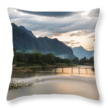 Sunset Over Vang Vieng River In Laos Throw Pillow