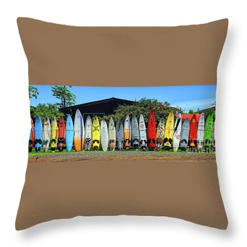 Surfboard Fence Maui Hawaii Throw Pillow