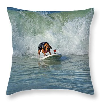 Throw Pillow featuring the photograph Surfing Dog by Thanh Thuy Nguyen