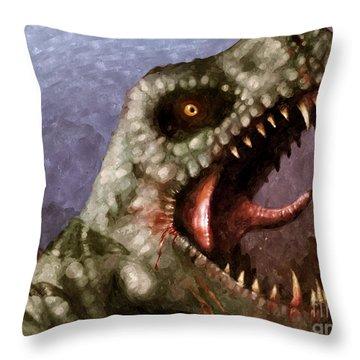 T-rex  Throw Pillow by Pixel  Chimp