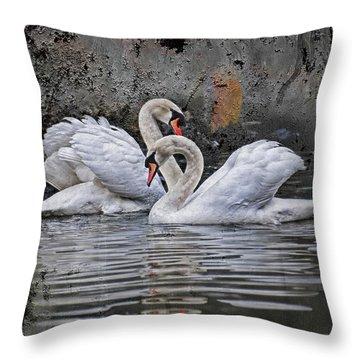 Tango Of The Swans Throw Pillow