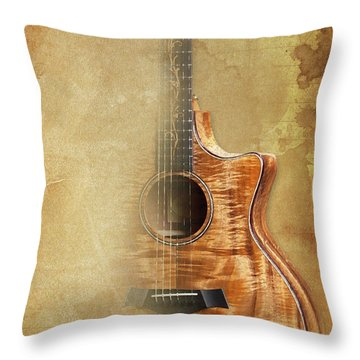 Taylor Inspirational Quote, Acoustic Guitar Original Abstract Art Throw Pillow by Pablo Franchi