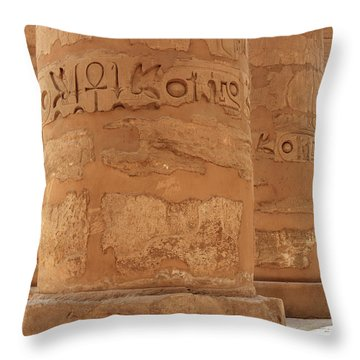 Throw Pillow featuring the photograph Temple Of Karnak by Silvia Bruno