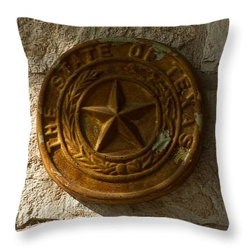 Throw Pillow featuring the photograph Texas State Seal by Michael Flood