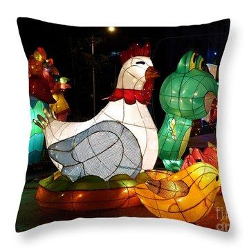 Throw Pillow featuring the photograph The 2017 Lantern Festival In Taiwan by Yali Shi