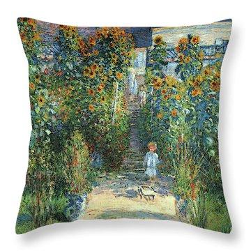 The Artist's Garden At Vetheuil Throw Pillow