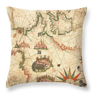 Compass Drawings Throw Pillows