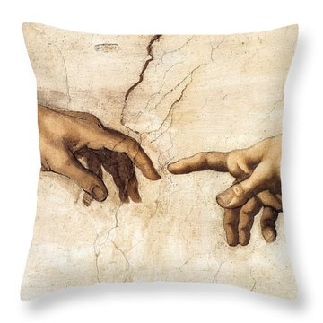 The Creation Of Adam Throw Pillow