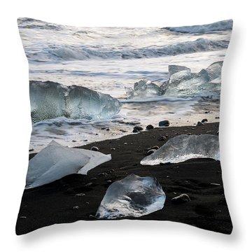 Throw Pillow featuring the photograph The Diamond Beach, Jokulsarlon, Iceland by Dubi Roman
