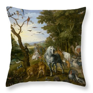 The Entry Of The Animals Into Noah's Ark Throw Pillow by Jan Brueghel the Elder