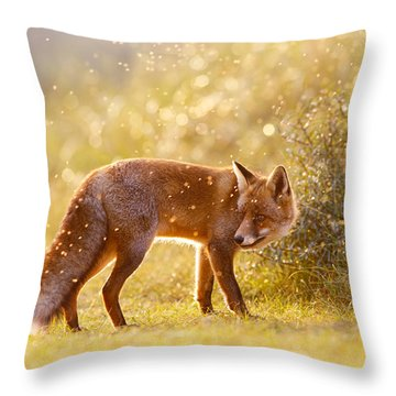 The Fox And The Fairy Dust Throw Pillow by Roeselien Raimond