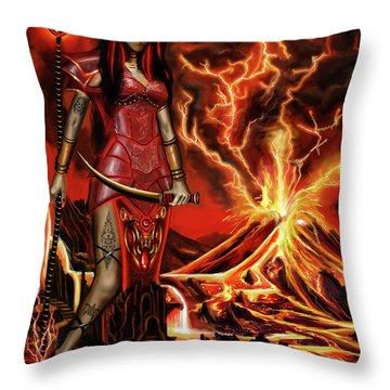The Goodess Pele Of Hawaii Throw Pillow by James Christopher Hill
